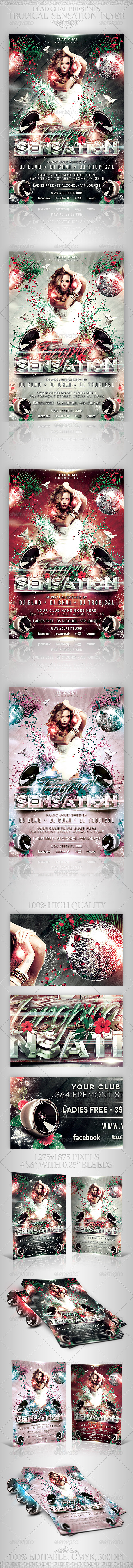 Tropical Sensation Party Flyer Template - Clubs &amp; Parties Events
