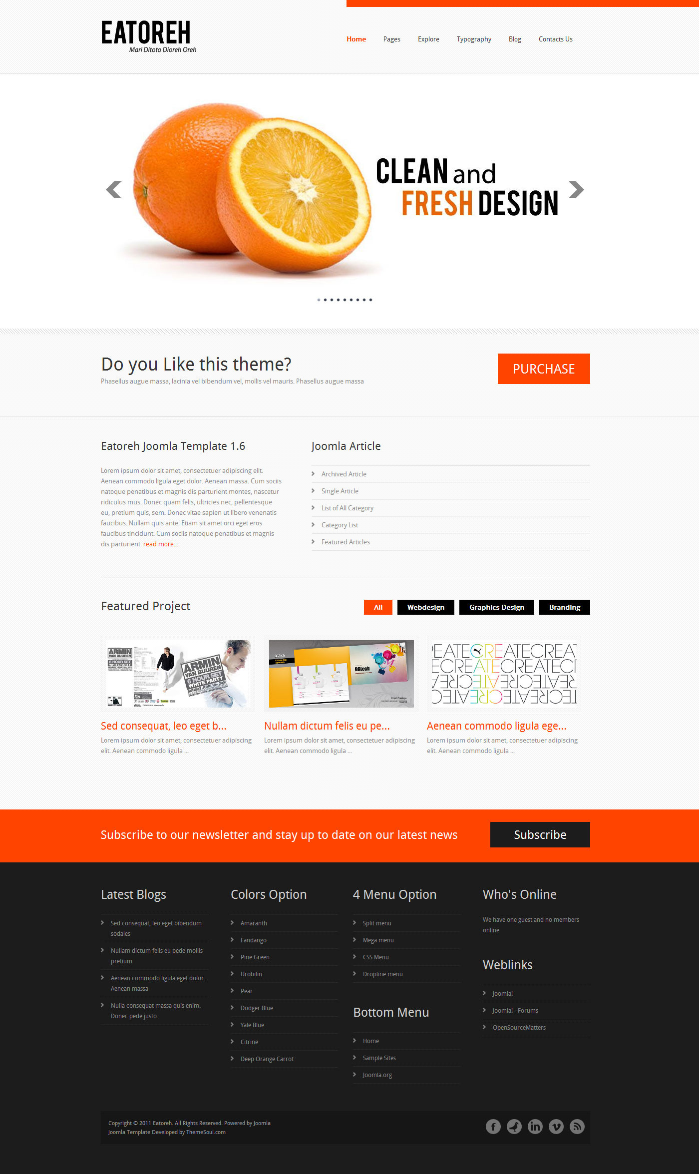 Eatoreh - Clean and Fresh Joomla Template
