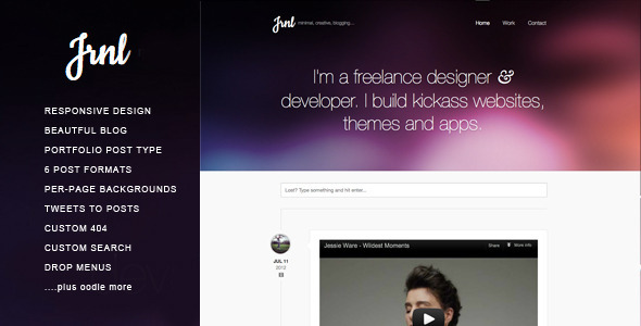 JRNL Responsive Wordpress Theme for Creatives. - Personal Blog / Magazine