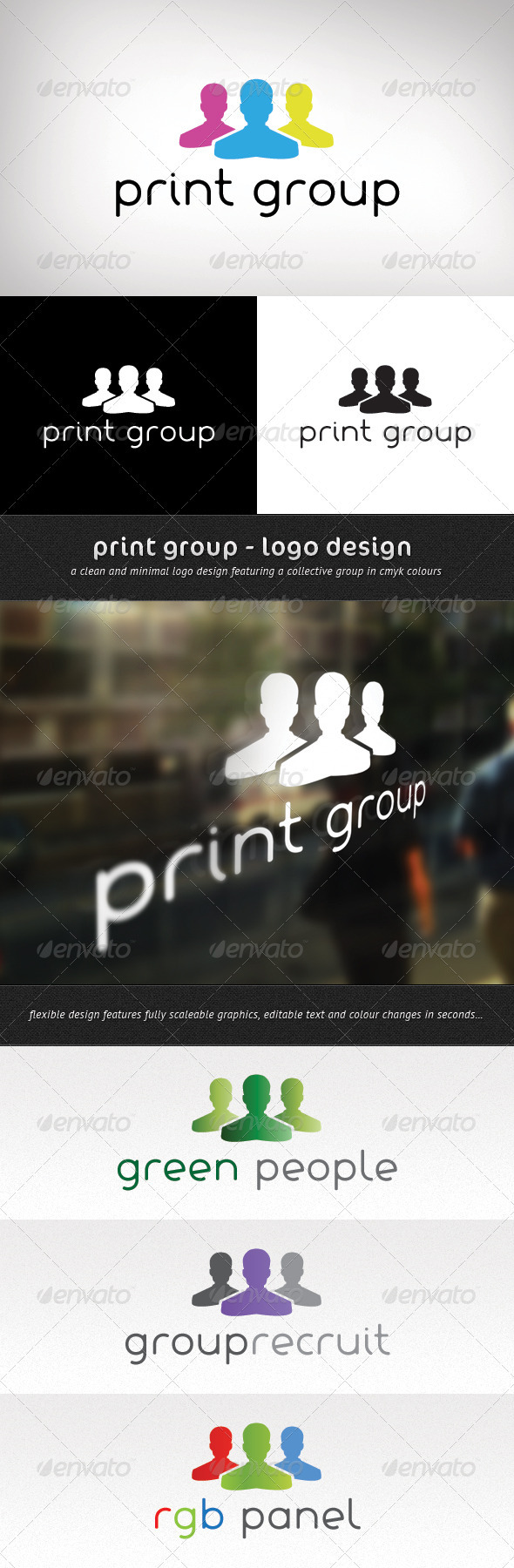 Print Group Logo Design - Vector Abstract