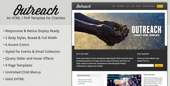 ThemeForest Outreach Charity HTML Template 2644289