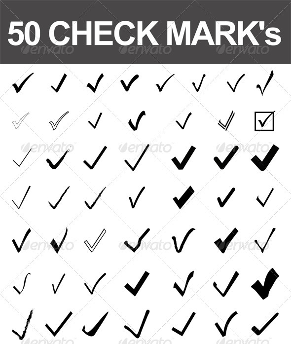 50 Check Marks - Decorative Symbols Decorative