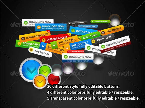 GraphicRiver 20 Different Style Buttons 2645443