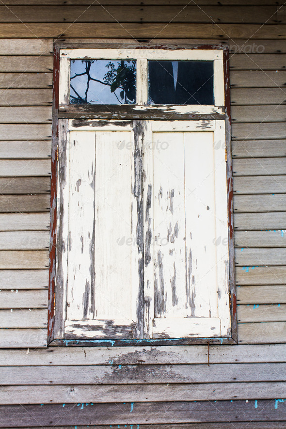 Old woody window on  wood wall - Stock Photo - Images