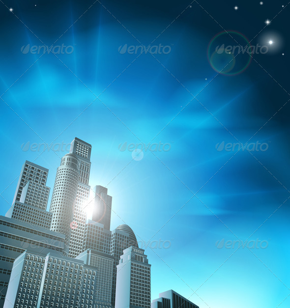 Blue corporate cityscape - Concepts Business