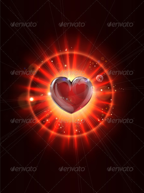 Dynamic light rays heart illustration - Valentines Seasons/Holidays