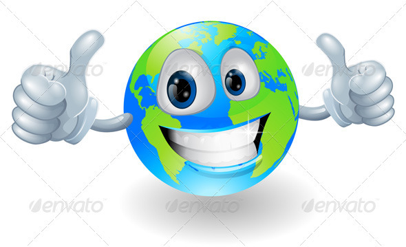 Globe earth mascot with thumbs up - Characters Vectors