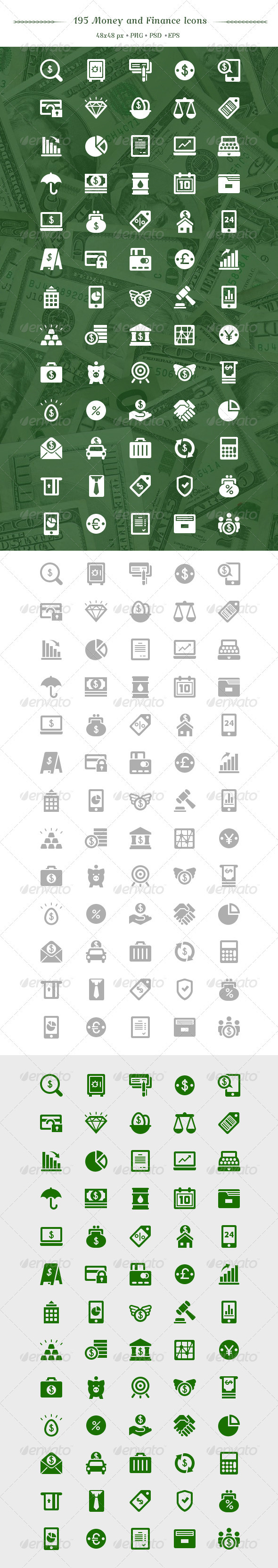 195 Money and Finance Vector Icon Set - Web Icons
