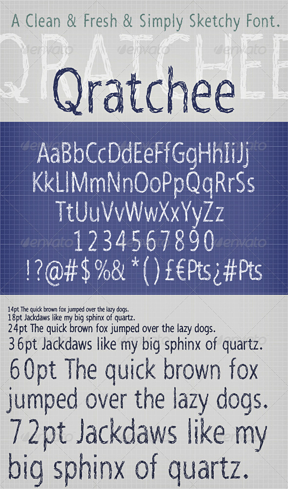 Qratchee Font; Sketchy Type Lettering  - Sans-Serif Fonts