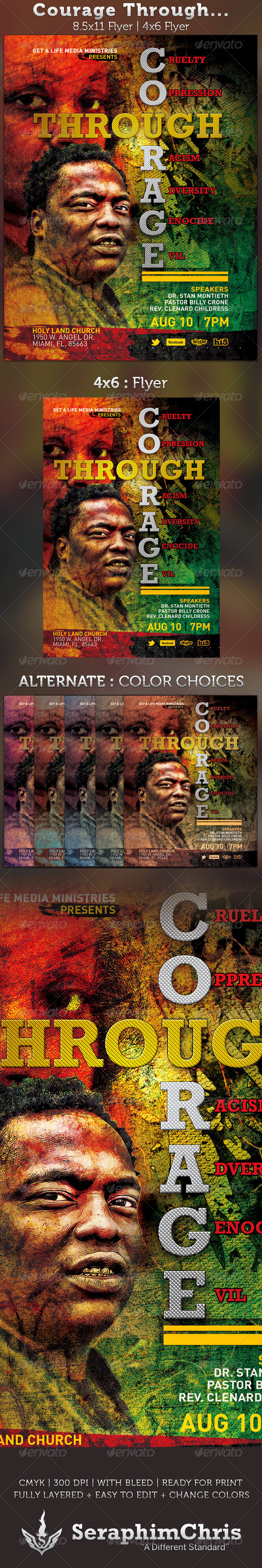 Courage Through: Church Flyer Template - Church Flyers