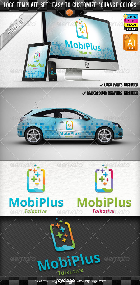Cellular Phone Application Mobile Plus Logo Design - Objects Logo Templates