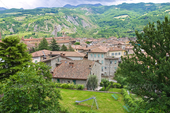 Panoramic view of Bobbio. Emilia-Romagna. Italy. - Stock Photo - Images