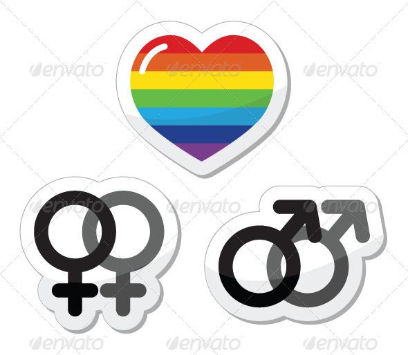 GraphicRiver Rainbow heart, male and female symbols 2651855