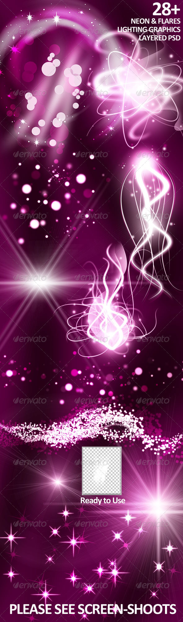 28+ Neon/Flares Lighting Layered PSD - Decorative Graphics