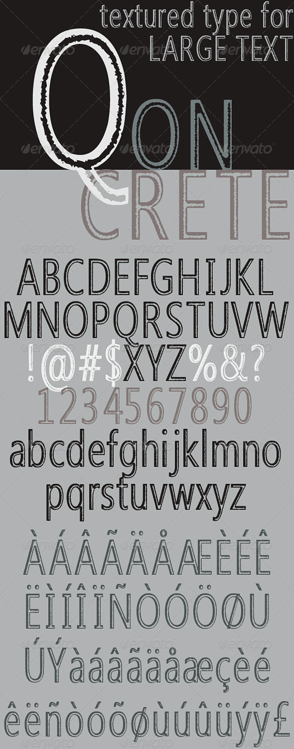 Qoncrete; Textured Lettering for Large Text - Sans-Serif Fonts