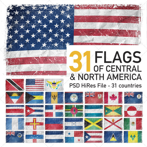 Central &amp; North America Flags (31 Countries) - Objects Illustrations