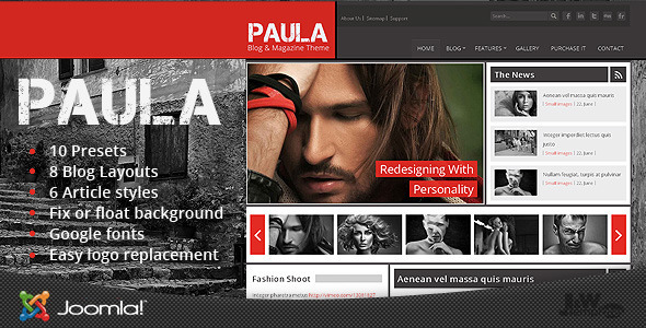 Paula - Blog & Magazine Joomla Theme - Blog / Magazine Joomla
