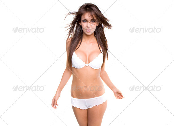 Beautiful young caucasian woman in white sexy lingerie - Stock Photo - Images