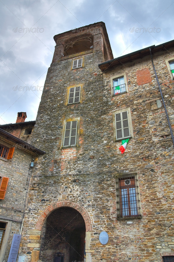 Anguissola Castle. Travo. Emilia-Romagna. Italy. - Stock Photo - Images