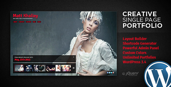 Creative WordPress Single Page Portfolio