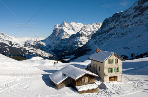 Kleine Scheidegg - Chalets - Stock Photo - Images