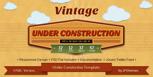 Vintage - Responsive Under Construction Template.