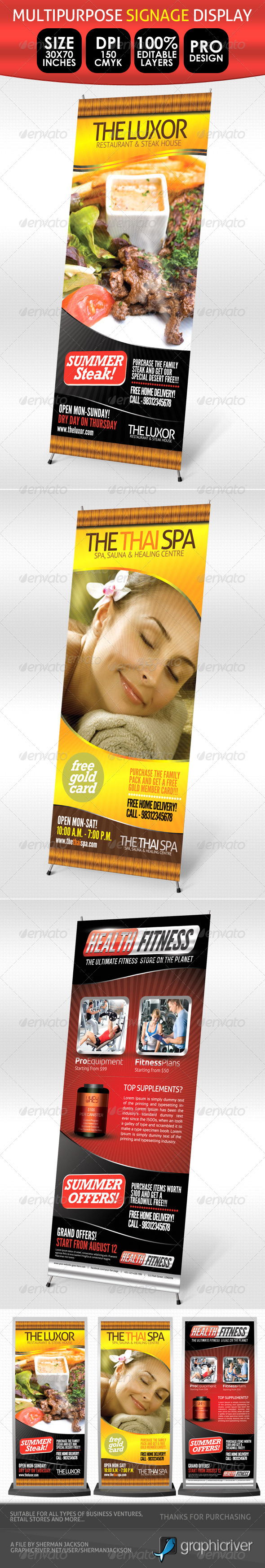 Fitness, Spa &amp; Restaurant, Multipurpose Signage - Signage Print Templates