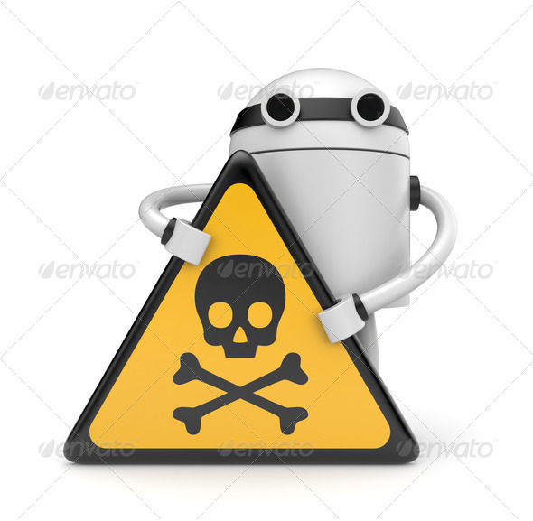 Robot with danger skull sign - Stock Photo - Images