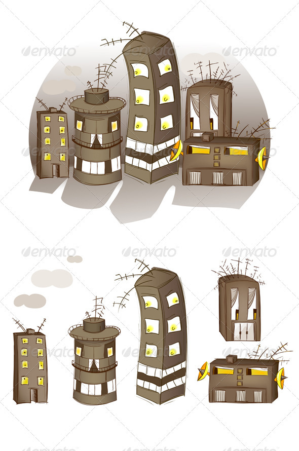 Cartoon Spooky Houses Set - Monsters Characters