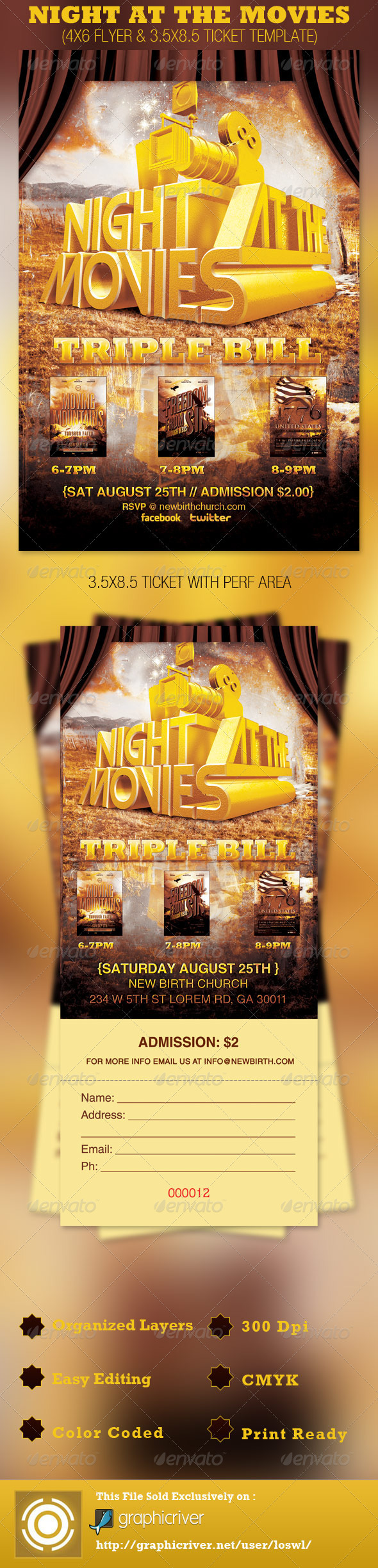 GraphicRiver Night at the Movies Church Flyer and Ticket 2658132