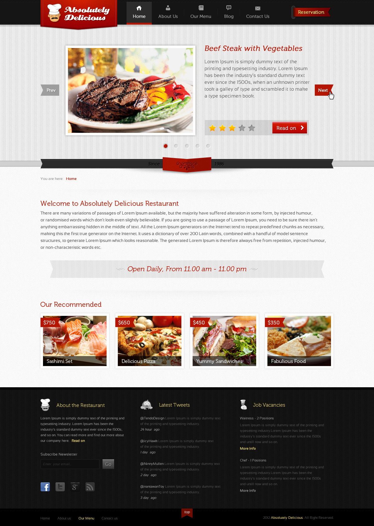 Absolutely Delicious Restaurant PSD Template