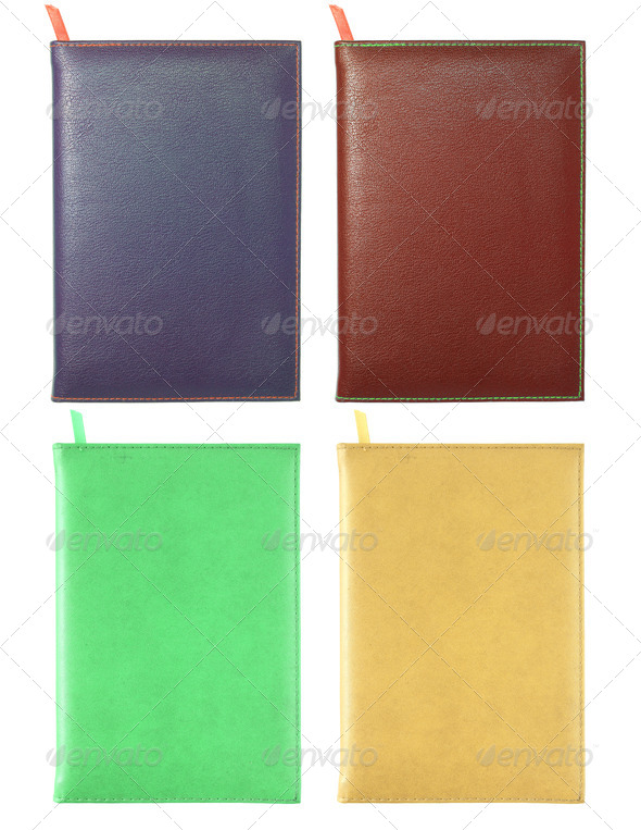set of leather notebook isolated on white with clipping path - Stock Photo - Images
