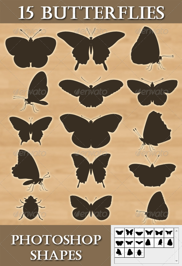 GraphicRiver 15 Photoshop Butterflies shapes 2660738
