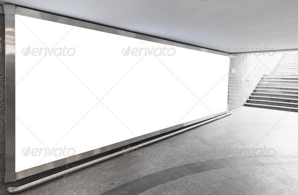 Blank billboard in  hall - Stock Photo - Images