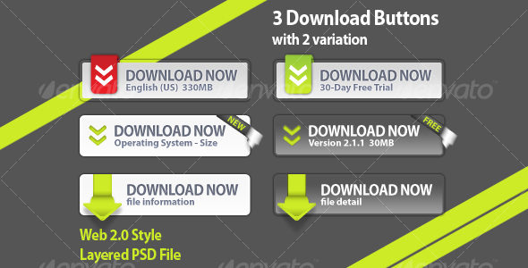 3 Download Buttons - Buttons Web Elements