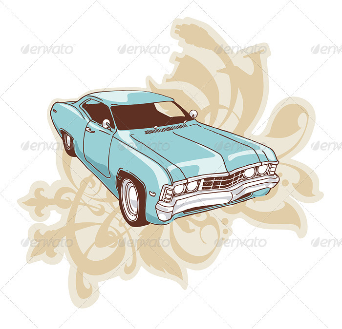 Retro Low-rider - Objects Illustrations
