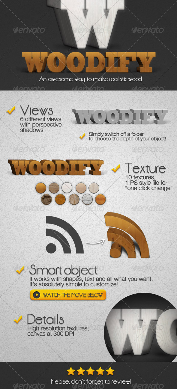Woodify Realistic 3D Wood Creator  - Photoshop Add-ons