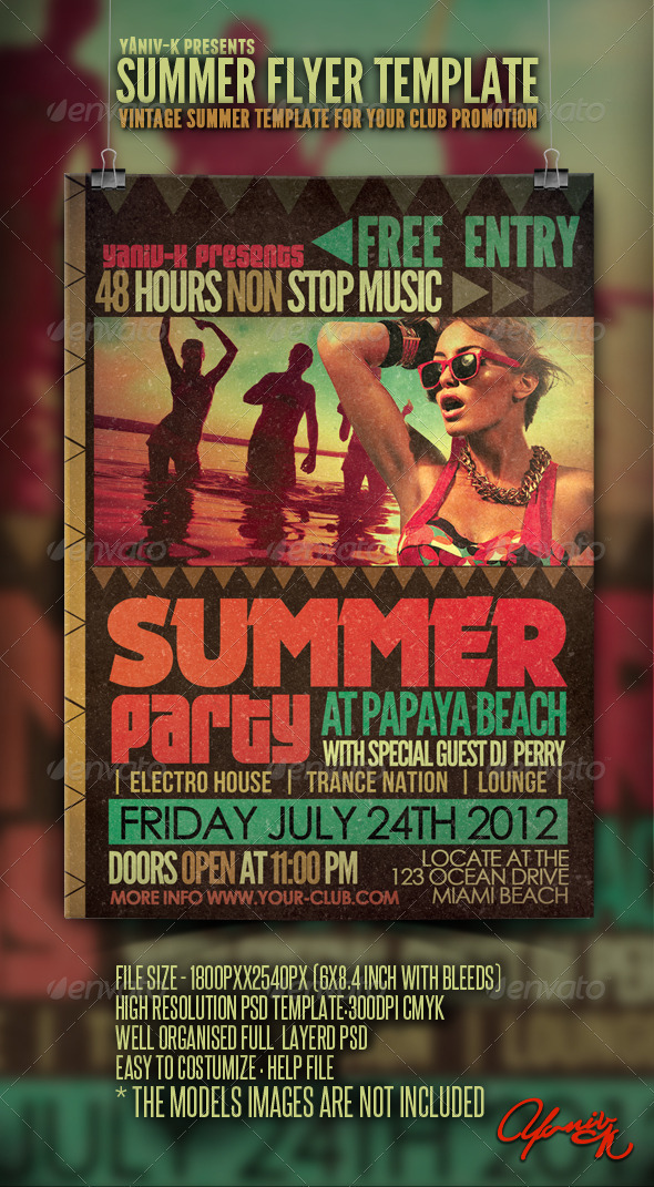 GraphicRiver Vintage Summer Flyer Template 2664974