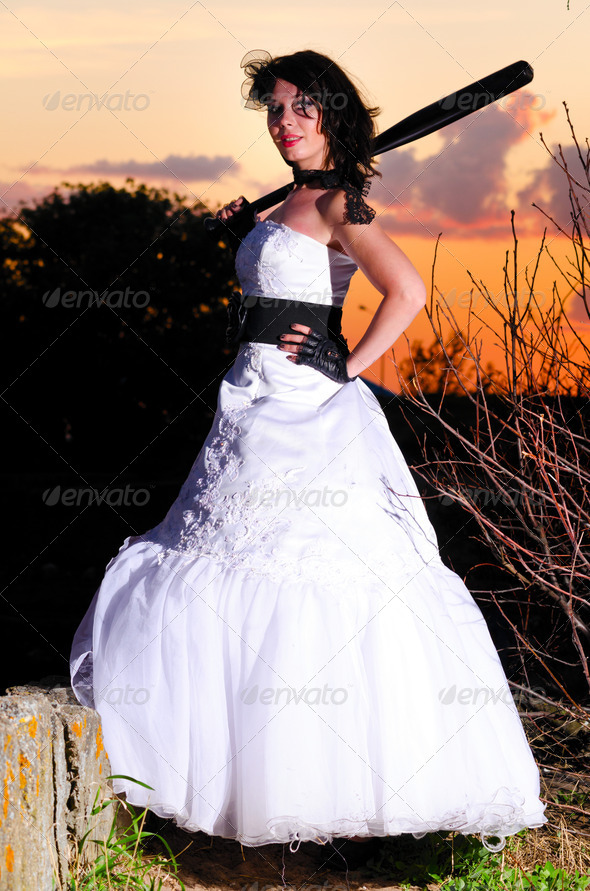 trash the dress woman - Stock Photo - Images