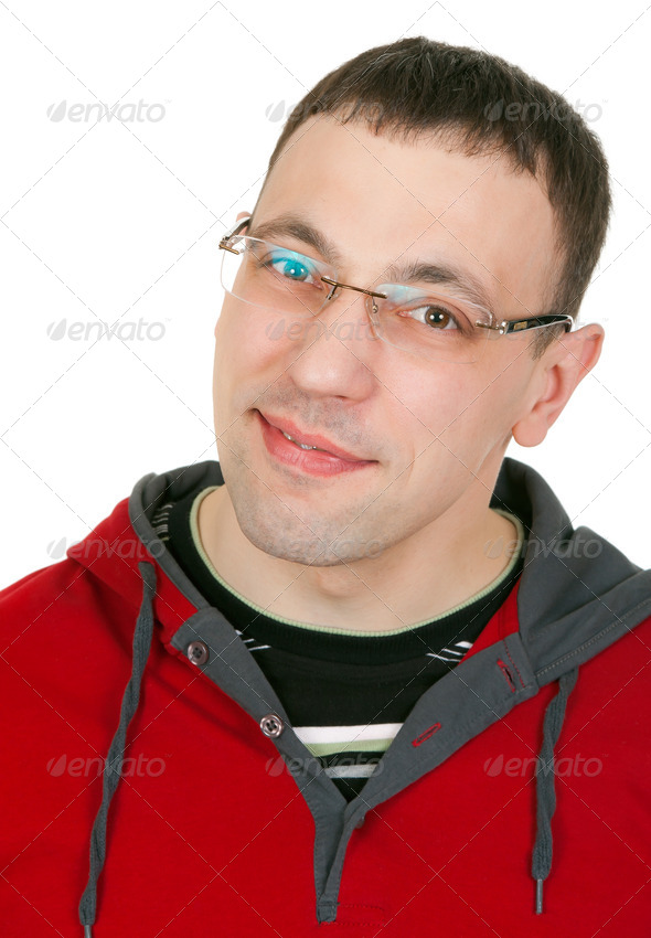 Portrait of a guy with glasses in a red dress - Stock Photo - Images