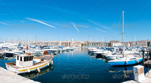 Panorama of the Marseille port. - Stock Photo - Images