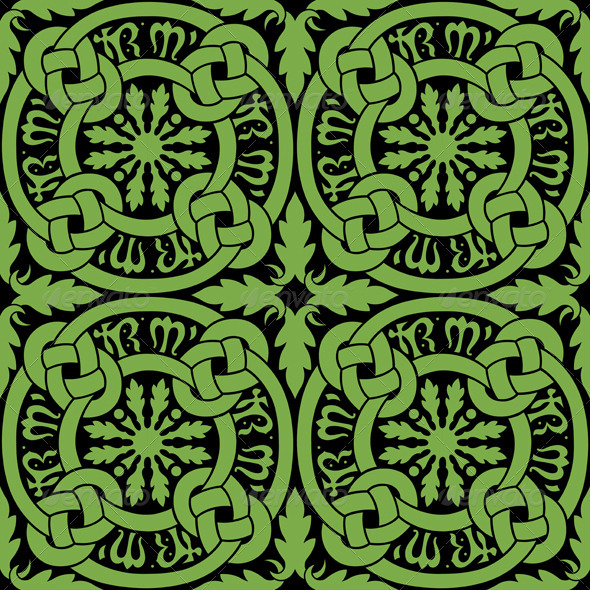 Seamless Celtic Knot Tile Pattern - Textures / Fills / Patterns Illustrator