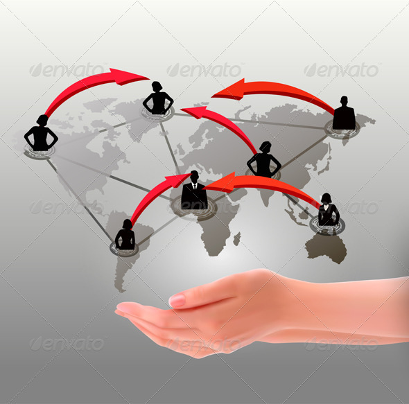 GraphicRiver Hands holding social network Vector illustration 2668948