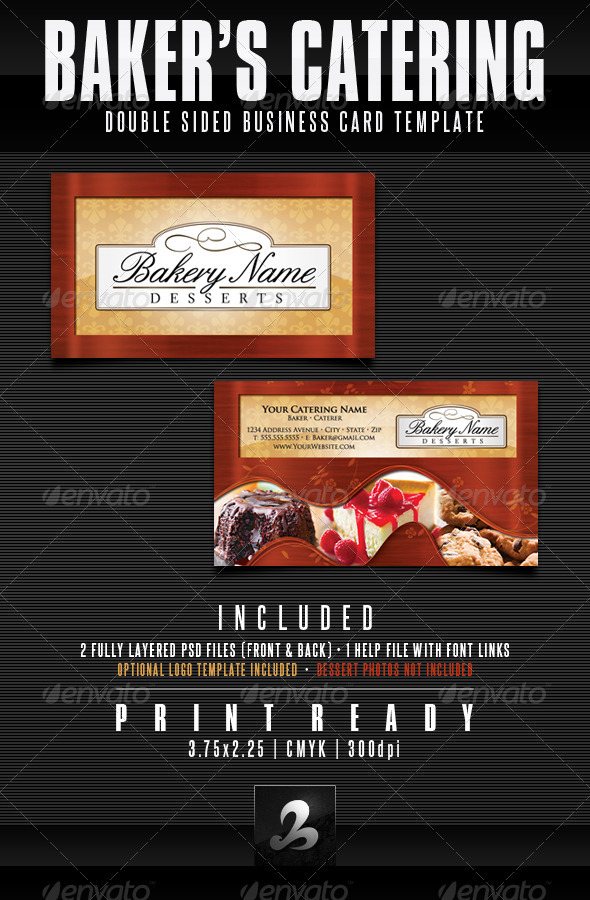 Baker's Catering Business Card Templates - Industry Specific Business Cards