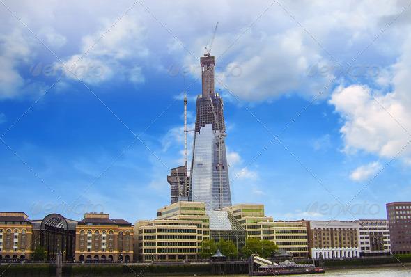 Construction of a Modern Building in London - Stock Photo - Images