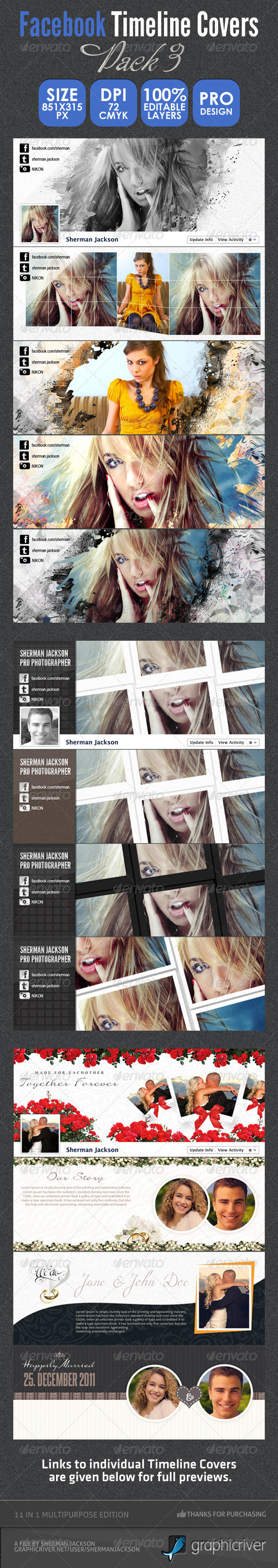 Facebook Timeline Bundle Pack - 3 - Facebook Timeline Covers Social Media