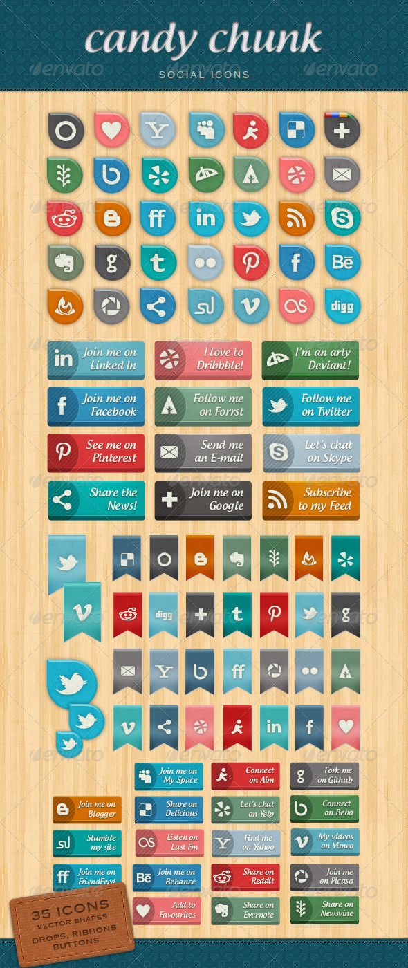 Candy Chunk - Social Network Icons - Media Icons