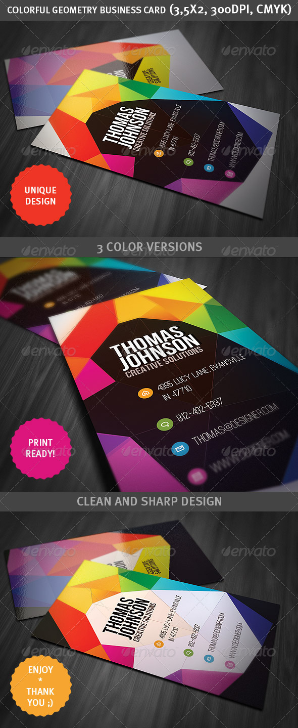 Colorful Geometry Business Card - Creative Business Cards
