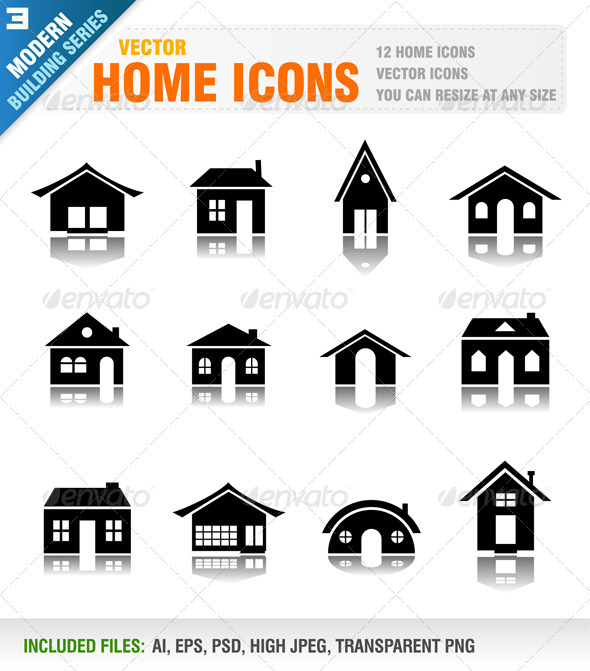 12 Home icons - Buildings Objects