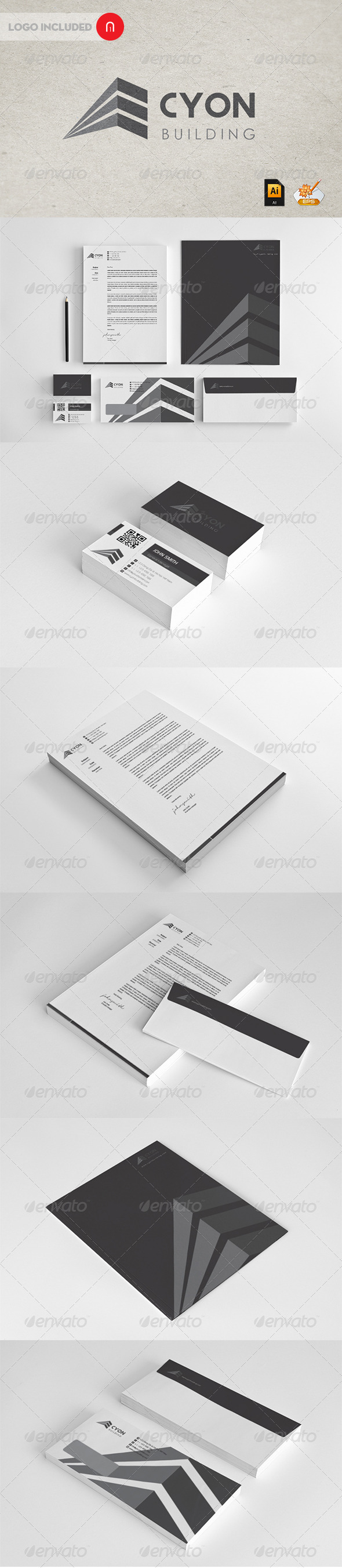 Cyon building professional Corporate Identity - Stationery Print Templates